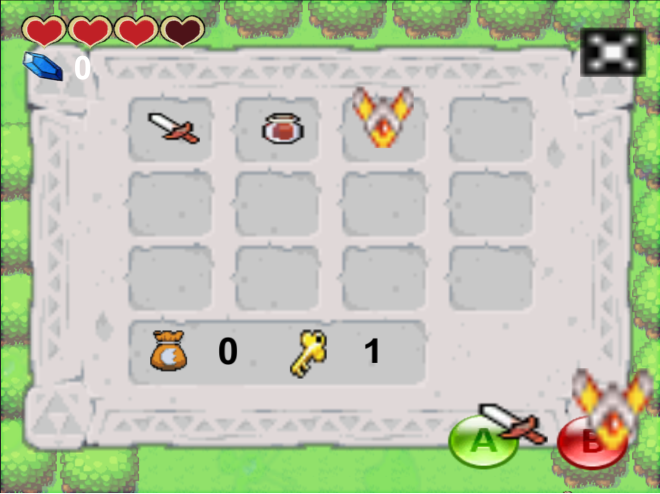Items are equipped when you press them and they are also displayed on their corresponding buttons